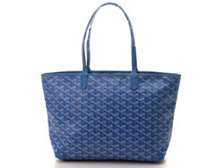 Goyard Artois Pm Tote Bag Blue Pvc Coated Canvas Used Excellent Condition