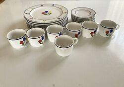 1985 Vtg Tulip Tyme Stoneware Discontinued Cups Saucers Plates Set Of 7 21 Pcs