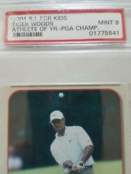 2001 S.i. For Kids Tiger Woods Athlete Of The Year Card Psa 9 Nm-mt