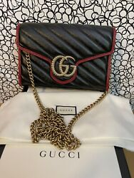 Small Marmont Black Leather With Gold Chain Crossbody Bag