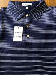 Nwtpeter Millar Crown Cotton Poloblue And White Stripes Men's Large Cool