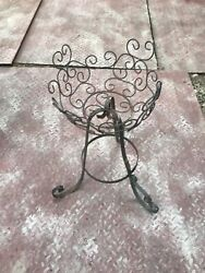 Vintage Metal Scrolled Wrought Iron amp; Wire Plant Stand Stamped Tag: quot;MEXICOquot;