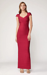 New Herve Leger Paris Cranberry Cap Sleeve Sweetheart Bandage Gown Xs Nwt