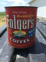 Large Vintage 1959 Folgers Coffee Ship Graphic Keywind Coffee Tin Can 3 Pound