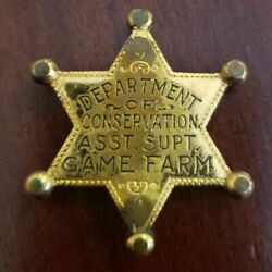 Obsolete Illinois Department Of Conservation Asst Sup Game Farm 5 Point Stars