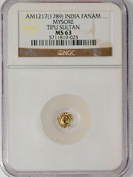 India, Mysore Tipu Sultan Gold Fanam 1789 Ngc Ms63, Bright And Well Struck