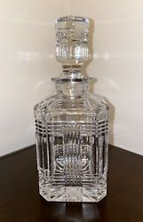 Glen Plaid Crystal Square Decanter W/ Stopper Excellent Condition
