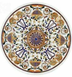 4' White Marble Table Top Inlay Pietra Dura Handmade Dining Antique Home Decor