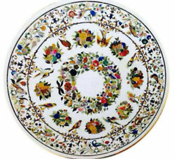 4' White Marble Table Top Inlay Pietra Dura Handmade Dining Home Decor Antique