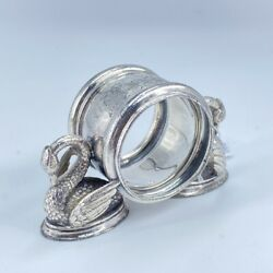 American Silver Plate Napkin Ring 2 Swans C. 1895