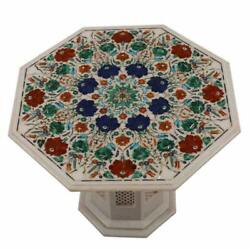 30 White Marble Table Top With Stand Inlay Pietra Dura Antique Coffee Decor