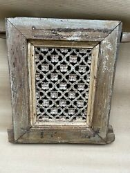Antique Old Rare Wooden Hand Carved Jali Cutting Flower Design Wall Panel Nh5901