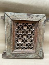 Antique Old Rare Wooden Hand Carved Jali Cutting Flower Design Wall Panel Nh5902