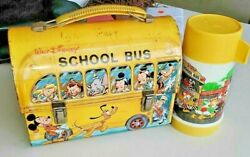 Rare Vintage Lunchbox With Thermos Walt Disney School Bus Collectible