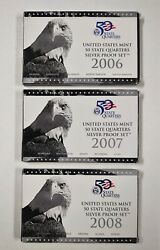 2006-2008 Us Mint 50 State Quarters Silver Proof Set Lot Of 3