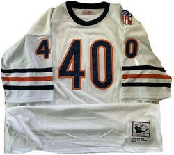 White Mitchell+ness Gale Sayers Authentic 1969 Throwback Patched Jersey Sz. 56