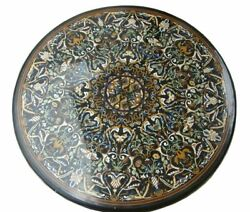 4and039 Antique Black Marble Table Top Inlay Pietra Dura Handmade Dining Home Decor