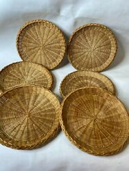 Paper Plate Holders Lot 6 Vintage Wicker Rattan Straw Bamboo Camping Picnic