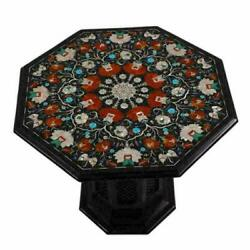 30 Black Marble Table Top With Stand Inlay Pietra Dura Antique Coffee Decor
