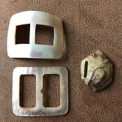 3 Antique Vintage Belt Buckles 2- Mother Of Pearl 1 Early Swirled Plastic