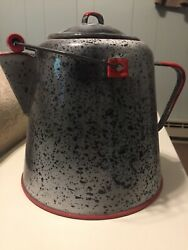Vintage Cowboy Campfire Enamelware Coffee Kettle Pot. Grey Speckle With Red Trim