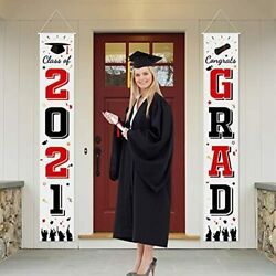 2021 Graduation Porch Sign Banner Black And Red Class Of 2021 And Congrats Grad