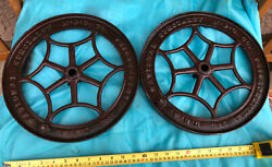 """2-antique 12 1/2"""" Cast Iron Axel Wheels Pulleys Industrial Usa Steampunk Project"""