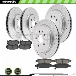 Front And Rear Brake Rotors Ceramic Pads For Chevrolet Camaro 3.6l Drill And Slot