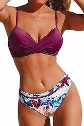 Cupshe Womenand039s Wrap Top Floral Bottom Bathing Suit Two Piece Sexy Swimsuit