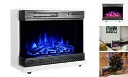 25 Inches Portable Electric Fireplace Free Standing Heater, Glass Window