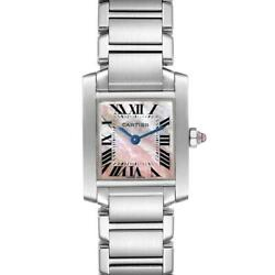 Tank Francaise Pink Mother Of Pearl Steel Ladies Watch W51028q3