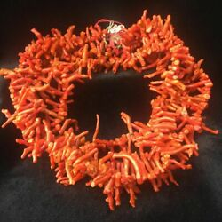 Antique Art Deco Branch Red Coral Beads Choker Graduated Necklace, 201 Gram