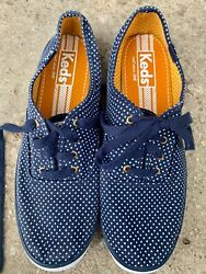 Keds Polka Dots Navy Blue Tennis Shoes Ladies Size 8 Sneakers Woman Canvas Woman
