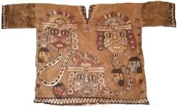 Paracas Genuine Tapestry Textil Shirt Nice With Trophy Heads Moche Chimuperu