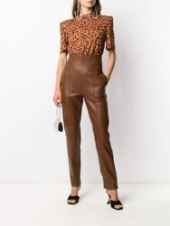 Alexandre Vauthier Leather Pants Spice Brown High Waisted Luxury 40 Nwot 2665