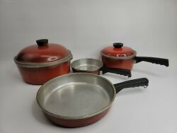 Vintage Club 6 Piece Aluminum Poppy Red Set - 2 Pots With Lids And Skillet Pan