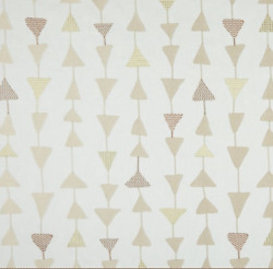 Contemporary Geo Triangles Embroidered Multipurpose Fabric Natural 3 Yards