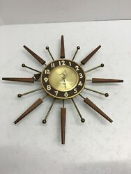 United Brown Gold Sunburst 204 Ac Current Analog Hanging Wall Clock Sz 17in17in