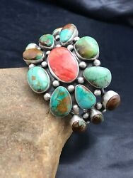 Stunning Native American Navajo Sterling Silver Royston Turquoise Bracelet 1052