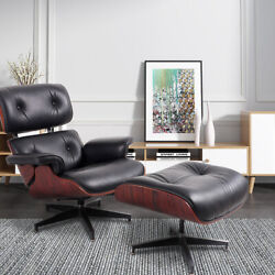 Genuine Leather Lounge Chair And Ottoman Black ,white, Walnut ,palisander,rosewood