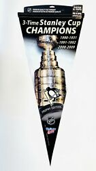 Pittsburgh Penguins 3x Stanley Cup Winner Pennant Oversized Wincraft Pennant New