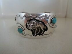 Shadow Box Wolf Bracelet Sterling With Turquoise Signed By Running Bear - Rb