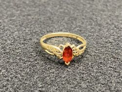 Vintage Early 1900andrsquos Natural Garnet Andldquocrpandrdquo 10k Solid Yellow Gold Ring 1.1 Grams