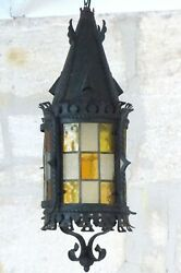 24 Xl French Lantern Gothic Castle Iron 19th Chandelier Ceiling Stained Glass