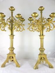 22quot; Large Pair French Antique Candlestick Bronze Candelabra 1880 Church Altar