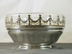 Antique French Fruit Bowl Dish Crystal And Sterling Silver 925 Corbeille Plat