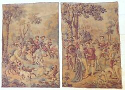Xl Large Antique French Tapestry Medieval Scenery 68x46 Rare Pair 19th