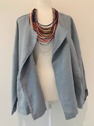 Nwt Eileen Fisher Blue Double Breasted Organic Linen Jacket Sz Xl