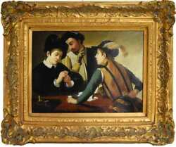 Caravaggio The Cardsharps Painting Reproduction With Gold Ornate Frame