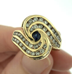 Vintage 1.80ctw Sapphire And Diamond Swirl Men's Pinky Ring 14k Yellow Gold Size 7